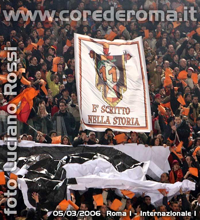 Roma-Inter lo stendardo CdR delle 11 vittorie