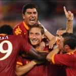 roma - gent: esultanza al gol di totti
