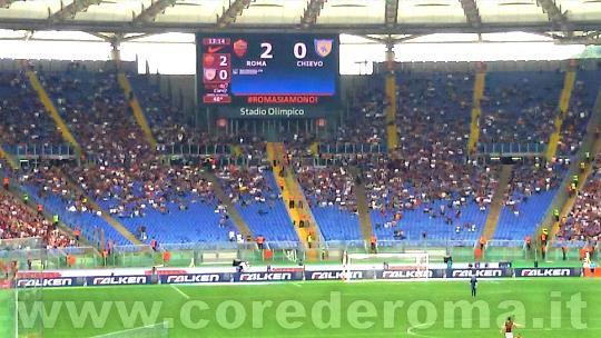 8/5/2016 Roma-Chievo: curva Sud durante l'intervallo