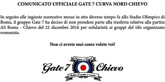 Gate 7 Chievo solidale con la Curva Sud