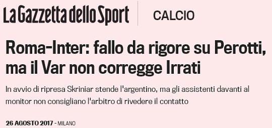 Roma-Inter, la tecnologia (VAR) ignora la Roma: negato rigore netto