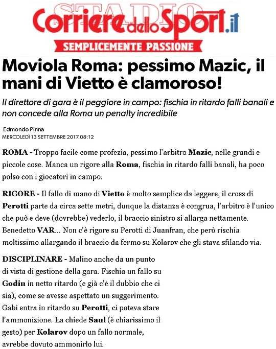 Roma-Atletico, Corriere dello Sport: ci manca un rigore