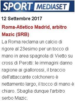 Roma-Atletico, Mediaset: ci manca un rigore