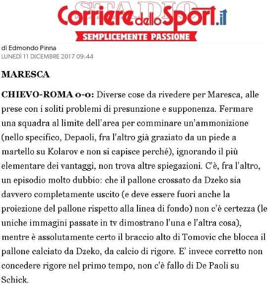 Chievo-Roma: arbitro totalmente incapace