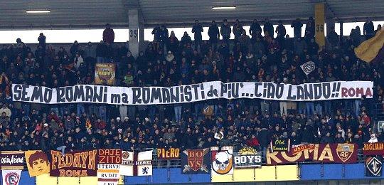 Chievo-Roma: striscione in ricordo del grande Lando Fiorini che ci ha lasciato ieri