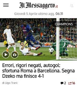 Barcellona-Roma: mancano 2 rigori