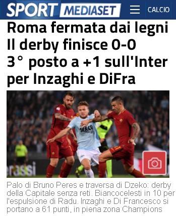 Lazio-Roma secondo Sport Mediaset