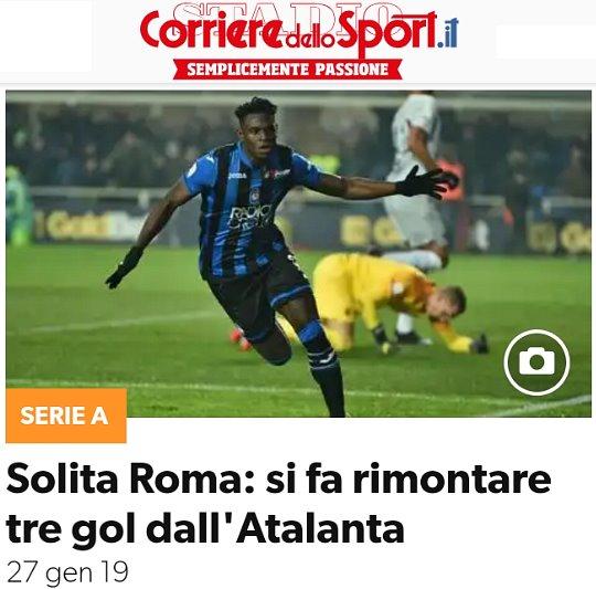 Atalanta-Roma: da 0-3 a 3-3