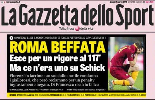 Champions, Porto-Roma: gazzetta